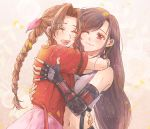 2girls :d =d aerith_gainsborough arm_around_neck bangs black_hair blush bow braid braided_ponytail breasts brown_hair closed_eyes crop_top dress earrings eyebrows_visible_through_hair final_fantasy final_fantasy_vii final_fantasy_vii_remake floral_background hair_bow highres hug jacket jewelry long_hair lower_teeth multiple_girls navel one_eye_closed open_mouth parted_bangs pink_bow pink_dress red_eyes red_jacket shiori8_ff short_sleeves skirt smile suspender_skirt suspenders tank_top tifa_lockhart upper_body very_long_hair white_crop_top white_tank_top
