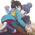 2girls alternate_hairstyle animal animal_ears black_hair blue_hair blush_stickers boots chihuahua chikuwa_(yurucamp) closed_eyes commentary dog hair_bun highres hiroki_(yyqw7151) hug jacket matching_hairstyle multiple_girls rabbit_ears saitou_ena scarf shared_scarf shima_rin simple_background violet_eyes winter_clothes yurucamp