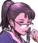1girl alternate_hairstyle black_hair blue_eyes eating eizouken_ni_wa_te_wo_dasu_na! food glasses henriiku_(ahemaru) jimiko kanamori_sayaka pocky ponytail simple_background solo white_background