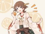 /\/\/\ 1girl brown_hair commentary_request detached_sleeves flipped_hair food fruit fruit_background green_skirt hairband headgear hiei_(kantai_collection) holding holding_food holding_fruit japanese_clothes kantai_collection looking_at_viewer orange orange_background orange_slice plaid ribbon-trimmed_sleeves ribbon_trim shakemi_(sake_mgmgmg) short_hair skirt smile solo upper_body violet_eyes