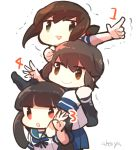 3girls :d :o akoya_(anoko_konoko) bangs black_eyes black_hair blue_skirt blunt_bangs brown_eyes brown_hair chibi fubuki_(kantai_collection) hatsuyuki_(kantai_collection) hime_cut index_finger_raised kantai_collection long_hair looking_at_viewer low_ponytail miyuki_(kantai_collection) multiple_girls open_mouth pleated_skirt ponytail school_uniform serafuku short_hair short_ponytail sidelocks simple_background skirt smile white_background