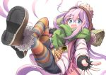 1girl :d absurdres bell blue_eyes boots fingerless_gloves fur_trim gloves hat highres jacket kagamihara_nadeshiko long_hair multicolored multicolored_clothes multicolored_legwear n2midori open_mouth pink_hair scarf short_shorts shorts simple_background smile solo white_background winter_clothes yurucamp