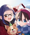 >_< 2girls animal blue_eyes brown_hair chihuahua chikuwa_(yurucamp) commentary dog glasses hat highres instagram_username jacket multiple_girls one_eye_closed oogaki_chiaki open_mouth orange_eyes party_hat purple_hair ringosutta saitou_ena scarf tongue tongue_out twitter_username winter_clothes yurucamp