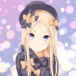 1girl abigail_williams_(fate/grand_order) bangs black_bow black_dress black_headwear blonde_hair blue_eyes blush bow breasts closed_mouth dress fate/grand_order fate_(series) forehead fumika_(moeshin) hair_bow hat long_hair looking_at_viewer multiple_bows orange_bow parted_bangs polka_dot polka_dot_bow ribbed_dress sleeves_past_fingers sleeves_past_wrists small_breasts smile solo