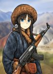 ak-47 artist_name assault_rifle black_hair blue_eyes blurry commentary depth_of_field freckles frown fur_hat fur_trim gun hair_ornament hat highres long_hair looking_at_viewer military mountain original rifle sash serious sidelocks sky sling watermark weapon zap-nik