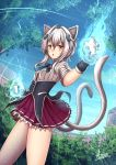 1girl absurdres adsouto animal_ears blue_sky blush breasts cat_ears cat_hair_ornament cat_tail extra_ears glowing glowing_fist hair_ornament high_school_dxd highres huge_filesize kuoh_academy_school_uniform looking_at_viewer multiple_tails nekomata paid_reward patreon_reward school_uniform short_hair silver_hair skirt sky small_breasts solo tail toujou_koneko tree two_tails uniform yellow_eyes