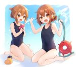 2girls :d black_swimsuit blush brown_eyes brown_hair collarbone enemy_lifebuoy_(kantai_collection) fang folded_ponytail hair_between_eyes hair_ornament hairclip holding holding_water_gun hose ikazuchi_(kantai_collection) inazuma_(kantai_collection) kantai_collection long_hair mitamgr multiple_girls one-piece_swimsuit open_mouth rubber_duck shinkaisei-kan short_hair sitting skin_fang smile swimsuit wariza water_gun