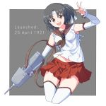 1girl bangs baseu black_hair breasts brown_eyes brown_neckwear cropped_legs detached_sleeves eyebrows_visible_through_hair headband highres holding holding_weapon kantai_collection nagara_(kantai_collection) one_side_up pleated_skirt red_sailor_collar red_skirt sailor_collar school_uniform serafuku simple_background skirt small_breasts solo thigh-highs two-tone_background v weapon white_headband white_legwear