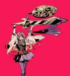 1girl aegislash crossover evil_grin evil_smile gen_6_pokemon gradient green_eyes grin harukanaru_toki_no_naka_de_3 holding holding_sword holding_weapon japanese_clothes kamabo_ko kanikamaboko kasuga_nozomi kimono kimono_skirt long_hair looking_at_viewer pink_hair pokemon pokemon_(creature) smile sword weapon wind wind_lift