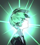 1girl black_neckwear black_shirt buttoniris closed_mouth collared_shirt commentary english_commentary from_side green_theme halo highres houseki_no_kuni looking_at_viewer looking_to_the_side necktie phosphophyllite profile shiny shiny_hair shirt solo white_shirt white_skin wing_collar