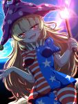 1girl :d american_flag_dress american_flag_legwear bangs blonde_hair blue_dress blush breasts clownpiece commentary_request cowboy_shot dress earth eyebrows_visible_through_hair fangs hair_between_eyes hat highres holding holding_torch jester_cap long_hair looking_at_viewer open_mouth pantyhose polka_dot polka_dot_hat purple_headwear rankasei red_dress red_eyes short_dress small_breasts smile solo space star star_print striped striped_dress taut_clothes taut_dress torch touhou very_long_hair