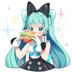 1girl aqua_eyes aqua_hair aqua_neckwear arami_o_8 bagel black_bow black_dress bow cable cheese commentary_request cropped_torso dress eating food gloves hair_bow hair_ornament ham hands_up hatsune_miku headphones holding holding_food hoop_skirt korean_commentary lettuce long_hair magical_mirai_(vocaloid) necktie open_mouth sandwich short_necktie signature sleeveless sleeveless_dress solo sparkle_background tomato twintails very_long_hair vocaloid white_background white_gloves