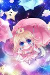 blonde_hair blue_eyes chibi crown highres long_hair mario_(series) nhuy_nguyen parasol princess_peach puddle ripples space star starman_(mario) super_mario_galaxy umbrella