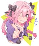1boy astolfo_(fate) bangs black_bow bow cropped_torso fang fate/grand_order fate_(series) grin hair_bow highres hood hood_down hooded_jacket index_finger_raised jacket long_braid long_hair looking_at_viewer manami_(fearfac666) multicolored multicolored_eyes multicolored_hair navel notice_lines one_eye_closed otoko_no_ko pink_hair pointing pointing_at_viewer purple_jacket purple_shirt shirt skin_fang smile solo streaked_hair striped striped_shirt very_long_hair
