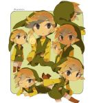 1boy belt black_eyes blonde_hair blush boots brown_eyes brown_footwear child eyes_visible_through_hair greek_clothes green_headwear green_tunic legs_up link long_sleeves looking_at_viewer lying on_stomach one_eye_closed phrygian_cap pointy_ears sidelocks signature smile the_legend_of_zelda the_legend_of_zelda:_the_wind_waker tokuura toon_link triforce tunic white_legwear