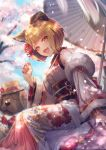 1girl :d animal_ears azalea4 bangs blonde_hair blue_sky blunt_bangs blush cherry_blossoms clouds commentary_request day detached_sleeves dog dog_ears dog_tail eyebrows_visible_through_hair fur_trim granblue_fantasy hand_up hat highres looking_at_viewer nail_polish open_mouth oriental_umbrella outdoors red_nails short_hair sitting sky smile solo tail twitter_username umbrella vajra_(granblue_fantasy) yellow_eyes