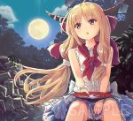 1girl alcohol bangs bare_shoulders blonde_hair blue_skirt blush clouds commentary_request culter cup eyebrows_visible_through_hair feet_out_of_frame full_moon holding holding_cup horns ibuki_suika long_hair low-tied_long_hair moon night night_sky oni oni_horns outdoors parted_lips sakazuki sake sample shirt sitting skirt sky sleeveless sleeveless_shirt solo touhou very_long_hair watermark white_shirt yellow_eyes