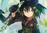 1girl :< absurdres black_kimono bottle commentary copyright_request green_eyes green_hair green_tea highres japanese_clothes kaamin_(mariarose753) kimono leaf looking_at_viewer tea