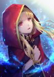 1girl blonde_hair cape ereshkigal_(fate/grand_order) fate/grand_order fate_(series) floating_hair hair_tubes hood hood_up hooded long_hair looking_up open_mouth red_cape red_eyes rokuo016 shiny shiny_hair solo very_long_hair
