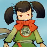 1girl alchera black_hair dragon_quest dragon_quest_iii fighter_(dq3) looking_at_viewer open_mouth red_eyes short_twintails simple_background smile solo twintails