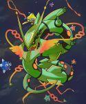 commentary english_commentary gen_3_pokemon gen_7_pokemon jirachi legendary_pokemon mega_pokemon mega_rayquaza minior mythical_pokemon pinkgermy pokemon rayquaza red_eyes space star_(sky)
