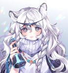 1girl animal_ear_fluff animal_ears arknights bangs bell blush braid commentary_request dress eyebrows_visible_through_hair gradient gradient_background grey_background grey_eyes hair_between_eyes hand_up head_chain hibarisann highres holding holding_bell leopard_ears long_hair looking_at_viewer parted_lips partial_commentary pramanix_(arknights) silver_hair solo turtleneck_dress twin_braids upper_body white_background white_dress