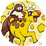 brown_eyes commentary creature english_commentary gen_2_pokemon girafarig grin no_humans pinkgermy pokemon pokemon_(creature) round_image signature smile solo yellow_eyes