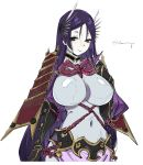 1girl armlet bangs black_gloves bodysuit breasts chuzenji covered_navel curvy fate/grand_order fate_(series) gloves highres large_breasts long_hair minamoto_no_raikou_(fate/grand_order) parted_bangs purple_bodysuit purple_hair ribbed_sleeves rope smile solo upper_body very_long_hair violet_eyes