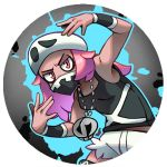1girl black_shirt breasts commentary english_commentary long_hair looking_at_viewer pink_eyes pink_hair pinkgermy pokemon pokemon_(game) pokemon_sm round_image shirt short_shorts shorts sleeveless sleeveless_shirt small_breasts team_skull team_skull_grunt team_skull_uniform white_headwear white_shorts