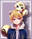 1boy animal_ears animal_on_head artist_name artist_request bangs blonde_hair blue_jacket commentary_request doubutsu_no_mori frown highres hood hoodie jacket jun_(doubutsu_no_mori) looking_at_viewer on_head personification short_hair squirrel squirrel_boy squirrel_ears squirrel_tail tail violet_eyes white_hoodie