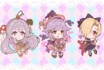 3girls \n/ ahoge argyle argyle_background blonde_hair blood blood_splatter blush bow bowtie bracelet brown_eyes chibi choker dress earrings eyebrows_visible_through_hair ghost gothic grey_eyes grey_hair hair_bow hair_flaps hair_intakes hair_ornament hair_over_eyes hat heart highres horns hoshi_shouko idolmaster idolmaster_cinderella_girls idolmaster_cinderella_girls_starlight_stage jewelry kawaii_boku_to_142's koshimizu_sachiko lavender_hair layered_dress long_hair mismatched_legwear mitsuparfum multiple_girls mushroom pastel_colors pointy_shoes red_eyes ribbon shirasaka_koume shoes short_hair skirt skull sparkle wand witch_costume witch_hat wristband