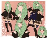 1girl blue_legwear blush boots bow closed_eyes closed_mouth fire_emblem fire_emblem:_three_houses flayn_(fire_emblem) from_side garreg_mach_monastery_uniform green_eyes green_hair hair_ornament high_heel_boots high_heels highres kenshin187 long_hair long_sleeves looking_to_the_side multiple_views open_mouth smile uniform