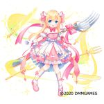 +_+ 1girl :d bangs bare_shoulders blonde_hair blue_eyes blush bow breasts commentary_request copyright_request detached_sleeves dress eyebrows_visible_through_hair fork full_body gloves hair_between_eyes hair_bow holding holding_fork kneehighs knife long_hair official_art open_mouth oversized_object pink_bow pink_dress pink_footwear puffy_short_sleeves puffy_sleeves shoes short_sleeves small_breasts smile solo sparkle standing standing_on_one_leg strapless two_side_up usashiro_mani very_long_hair watermark white_gloves white_legwear white_sleeves wing_hair_ornament