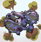 black_eyes commentary creature english_commentary fangs floating full_body gen_1_pokemon no_humans pinkgermy pokemon pokemon_(creature) signature simple_background smoke solo weezing white_background