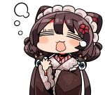 1girl =_= animal_ears bangs blush_stickers brown_hair brown_kimono closed_eyes dog_ears dog_hair_ornament eyebrows_visible_through_hair facing_viewer flower hair_between_eyes hair_flower hair_ornament inui_toko japanese_clothes kanikama kimono long_sleeves lowres maid_headdress nijisanji open_mouth queen's_blade red_flower simple_background sleepy sleeves_past_wrists solo teardrop upper_body virtual_youtuber wavy_mouth wide_sleeves yawning