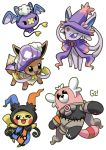 bear bewear black_eyes chandelure chandelure_(cosplay) clothed_pokemon commentary cosplay drifblim drifblim_(cosplay) drifloon dusclops dusclops_(cosplay) eevee english_commentary espeon gen_1_pokemon gen_2_pokemon gen_3_pokemon gen_4_pokemon gen_7_pokemon halloween hat hatted_pokemon highres looking_at_viewer mismagius mismagius_(cosplay) one_eye_closed pikachu pinkgermy pokemon signature simple_background standing standing_on_one_leg violet_eyes white_background zubat zubat_(cosplay)