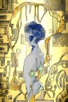 1other amputee androgynous bangs crack dripping from_side grey_eyes highres houseki_no_kuni injury looking_at_viewer nude parted_lips phosphophyllite phosphophyllite_(ll) profile short_hair sideways_glance solo sunfish263 yellow_background