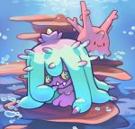 ._. black_eyes blue_eyes closed_mouth commentary corsola creature day english_commentary full_body gen_2_pokemon gen_7_pokemon mareanie no_humans pinkgermy pokemon pokemon_(creature) signature smile sunlight underwater water