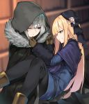 2girls absurdres black_gloves black_headwear black_legwear blonde_hair blue_coat blue_eyes boots brown_footwear brown_gloves cape carrying cloak coat fate_(series) fur-trimmed_cloak fur_trim gloves gray_(lord_el-melloi_ii) green_eyes grey_cape grey_flower grey_hair grey_rose highres hood hood_up hooded_cloak long_hair lord_el-melloi_ii_case_files multiple_girls one_eye_closed pantyhose princess_carry reines_el-melloi_archisorte tilted_headwear yuri yuuuuu