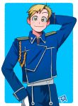 1boy 3amta alphonse_elric alternate_costume amestris_military_uniform arm_at_side arm_up black_outline blonde_hair blue_background blue_jacket blue_pants blush border closed_mouth collared_jacket eyebrows_visible_through_hair fullmetal_alchemist gloves hand_behind_head happy jacket looking_at_viewer male_focus military military_uniform outline pants shaded_face signature simple_background smile standing uniform upper_body white_background white_border white_gloves yellow_eyes