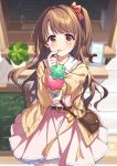 1girl blurry blurry_background blush bow brown_eyes brown_hair cardigan double_scoop eskimofox food hair_bow highres holding holding_food ice_cream ice_cream_cone idolmaster idolmaster_cinderella_girls incoming_food long_hair looking_at_viewer one_side_up pink_skirt school_uniform shimamura_uzuki skirt smile solo