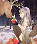 1girl animal antlers apple arknights artist_name bangs bare_arms bare_shoulders bare_tree black_gloves black_legwear dress elk firewatch_(arknights) food fruit garter_straps gloves grey_dress grey_eyes grey_hair hairband holding holding_food holding_fruit knees_up long_hair nnnnnnnnsan purple_hairband sitting sleeveless sleeveless_dress smile snow thigh-highs tree