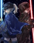 2girls absurdres artoria_pendragon_(all) back-to-back baseball_cap beam_saber black_cape black_gloves black_headwear black_legwear black_shorts blue_eyes blue_jacket cape closed_mouth eyebrows_visible_through_hair fate/grand_order fate_(series) gloves hair_between_eyes hat high_ponytail highres hood hood_up hooded jacket long_hair long_sleeves looking_at_viewer multiple_girls mysterious_heroine_x mysterious_heroine_x_(alter) nayu_tundora ocean open_clothes open_jacket red_eyes short_shorts shorts silver_hair standing thigh-highs