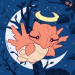 character_name commentary creature crescent_moon english_commentary full_body gen_3_pokemon inktober moon night night_sky no_humans number outdoors pokemon pokemon_(creature) pokemon_number shedinja sky solo star_(sky) starry_sky tonestarr tree