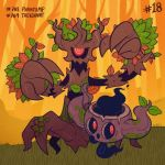autumn_leaves character_name commentary creature english_commentary forest full_body gen_6_pokemon grass inktober leaf nature no_humans number outdoors phantump pokemon pokemon_(creature) pokemon_number standing tonestarr tree trevenant