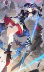 1girl armpits arms_up blue_hair boots breastplate breasts checkered cubies_(tiger_205) dress frilled_dress frills full_body girl_cafe_gun gradient_eyes high_heel_boots high_heels highres holding holding_sword holding_weapon knight looking_at_viewer medium_breasts midair multicolored multicolored_eyes open_mouth shi_wu_you shield short_hair shoulder_armor sleeveless sleeveless_dress solo spaulders sword thigh_strap thighs visor_(armor) weapon yellow_eyes