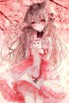 1girl animal animal_ear_fluff animal_ears bangs blurry blurry_background blurry_foreground blush breasts brown_hair cat cat_ears cherry_blossoms closed_mouth commentary_request depth_of_field dress eyebrows_visible_through_hair floral_print flower frilled_dress frills hair_between_eyes hair_flower hair_ornament highres holding holding_animal long_hair long_sleeves medium_breasts original petals print_dress red_eyes red_flower smile solo tandohark thigh_gap tree_branch very_long_hair white_dress
