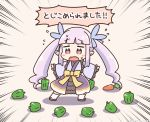 1girl carrot chibi emphasis_lines flying_sweatdrops green_pepper hikawa_kyouka kurororo_rororo long_hair pink_eyes pointy_ears princess_connect! princess_connect!_re:dive purple_hair translated twintails