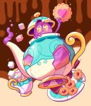 cake commentary cookie creature cup english_commentary food full_body gen_8_pokemon heart holding holding_food no_humans pokemon pokemon_(creature) polteageist saucer teacup teapot tonestarr