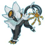blue_outline claws commentary creature english_commentary full_body fusion gen_4_pokemon gen_7_pokemon highres looking_at_viewer luxray no_humans outline pinkgermy pokemon pokemon_(creature) signature simple_background solo ultra_beast white_background xurkitree yellow_eyes